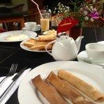 Pancake with buffalo curd & honey breakfast menu