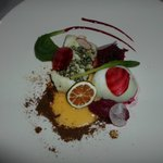 Cod, 3 different types of beetroot, and duck egg