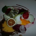 Cod, 3 different types of beetroot, and perfectly runny duck egg