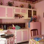 kitchenette and pink fridge