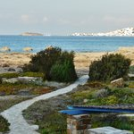 view from room to beach and Naxos Chora