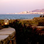 evening view to beach and Naxos