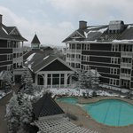 It snowed! Pool and lodge.