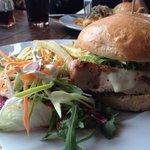 Italian burger with mozzarella and Parma ham