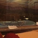 Tub next to the bed
