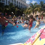water balloon fight at pool