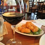 Crispy potato croquettes with a LARGE pour of red wine