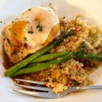 Delicious daily special:  chicken breast w/ ham, peach, & swiss cheese; quinoa and asparagus.