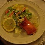 Salmon mouse with smoked salmon wrap-starter