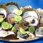 Freshly fished, cracked clams and oyster served to your shade