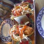 Tacos de  pescado tempura, esquisitos!!
