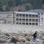 view of hotel from the beach