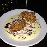 Pear fritter in a vanilla sauce - delicious!