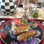 banana stuffed French Toast and chicken chorizo sausage