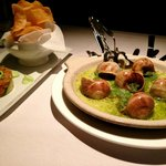 Escargot and smoked salmon tartare