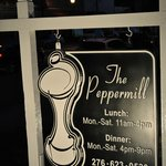 The Peppermill sign at the street