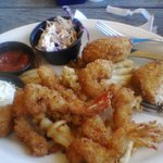 Crab cakes and butterfly shrimp