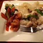 Szechuan shrimp and moo goo gai pan