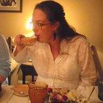 My daughter Melantha enjoying a cup of White-Tipped Earl Grey tea