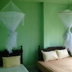 Room with mosquito nets