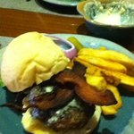 blue bacon burger and chunky fries