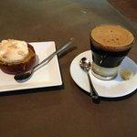 Lemon curd and meringue tart, and Vietnamese coffee with condensed milk.