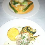 Sea Bass & Stuffed Salmon w/ Crabmeat