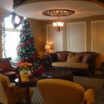 The lobby -decorated for Xmas