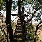 Climbing to the platform