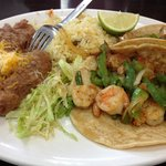 Shrimp Tacos with Rice and Beans