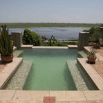 View over swimming pool on the Chobe river - room #408