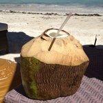 Fresh coconut milk from Beach Service