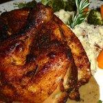 Herbed Chicken, Garlic Mashed Potatoes, Vegetables
