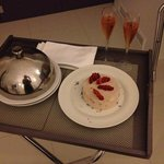 My birthday cake and champagne from the hotel