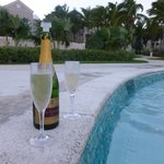 champers in the Hot Tub