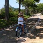 riding hotel bikes into town