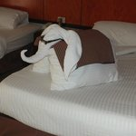 An elephant from bath towels