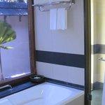 indoor shower and bathtub