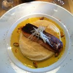 Delicious salmon with curry sauce