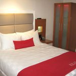the comfy bed and wardrobe with built in nightlight