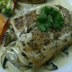 Grilled Kingfish with a Creamy Mushroom Sauce