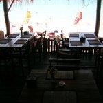 Blick vom Restaurant auf den Strand