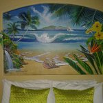 Cool painting above bed