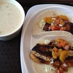 crab soup and fish tacos