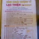 The menu at Lac Thien