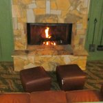 Gas fireplace in common area building A