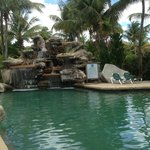 Waterfall by pool area