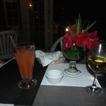 Rum punch & white wine for dinner aperitifs at Rico's, Ambergris Caye