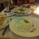 tasting plate in the middle, chicken curry for me, and nasi goreng for the man
