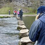 June about to step across the stepping stones.
